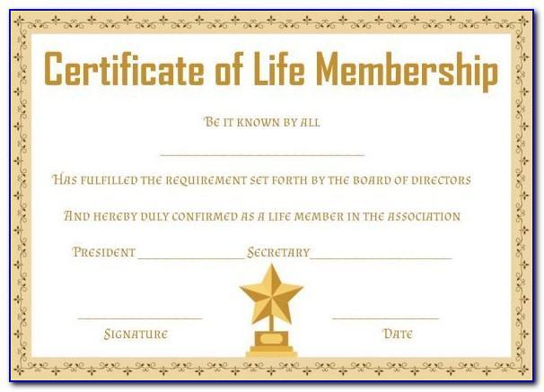 Life Membership Certificate Template Word