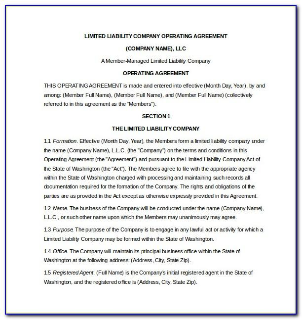 Limited Liability Company Operating Agreement Template Free