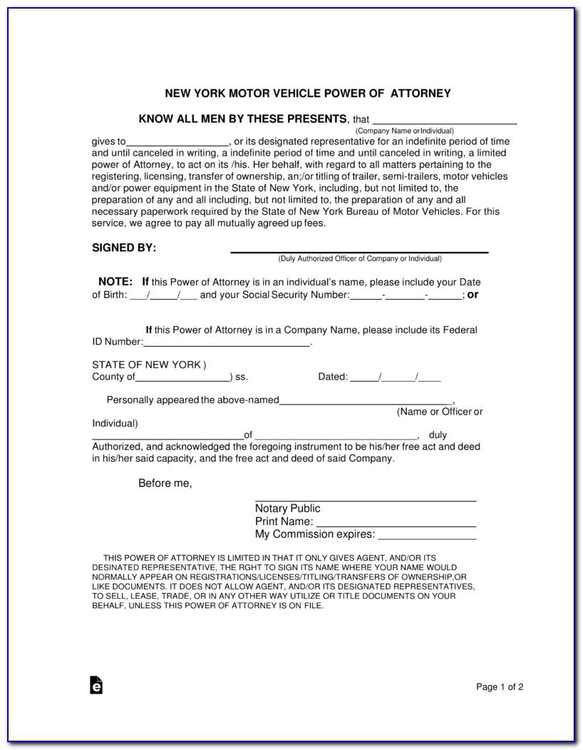 Limited Power Of Attorney Form Florida