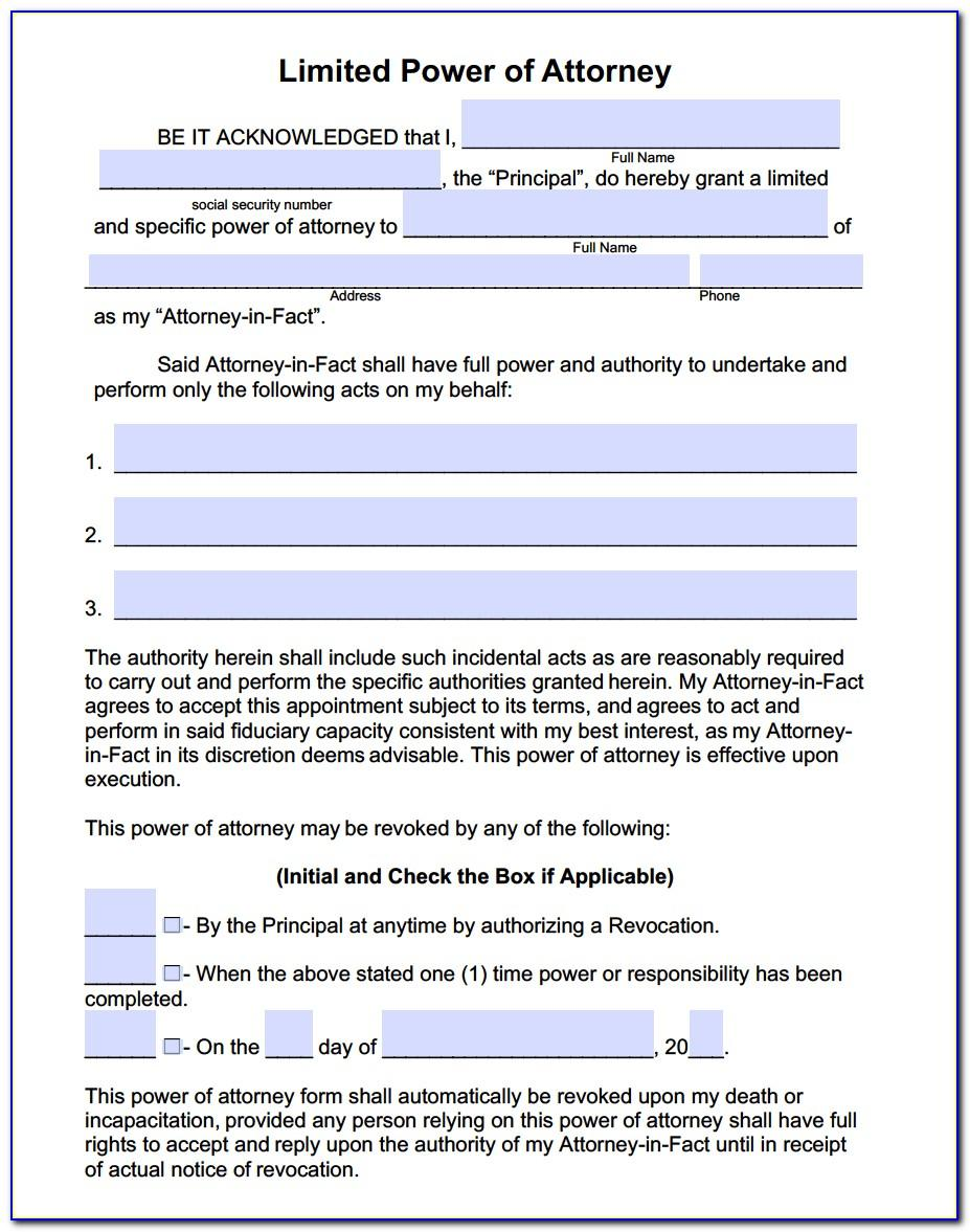 Limited Power Of Attorney Form Pennsylvania