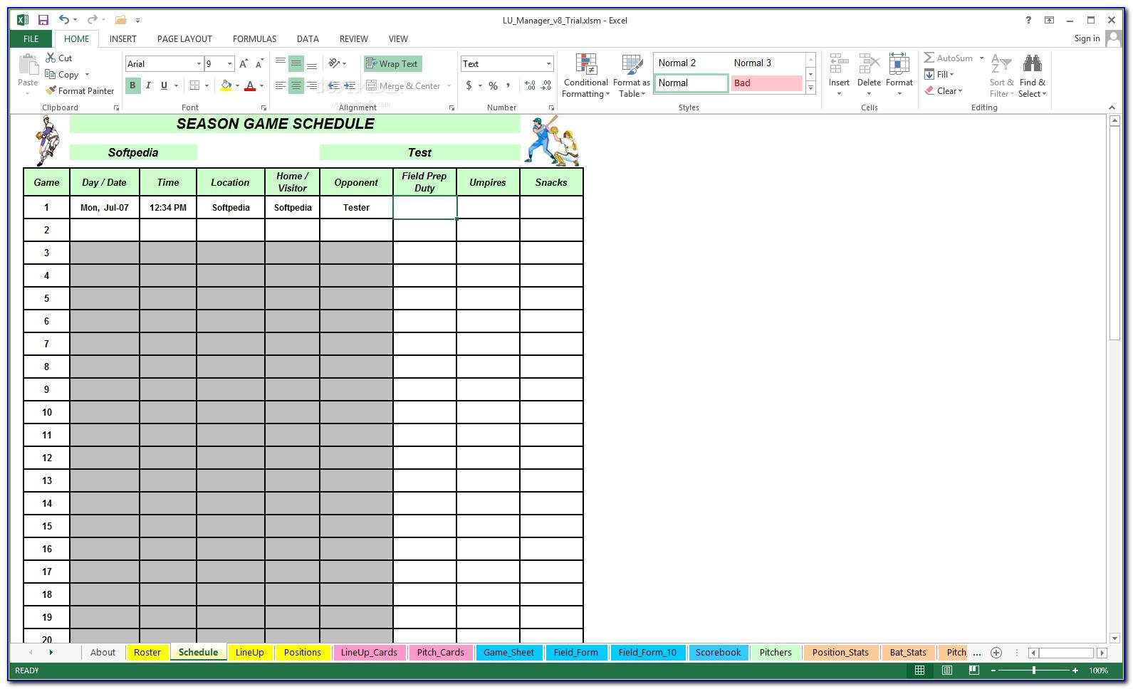 Little League Baseball Schedule Template
