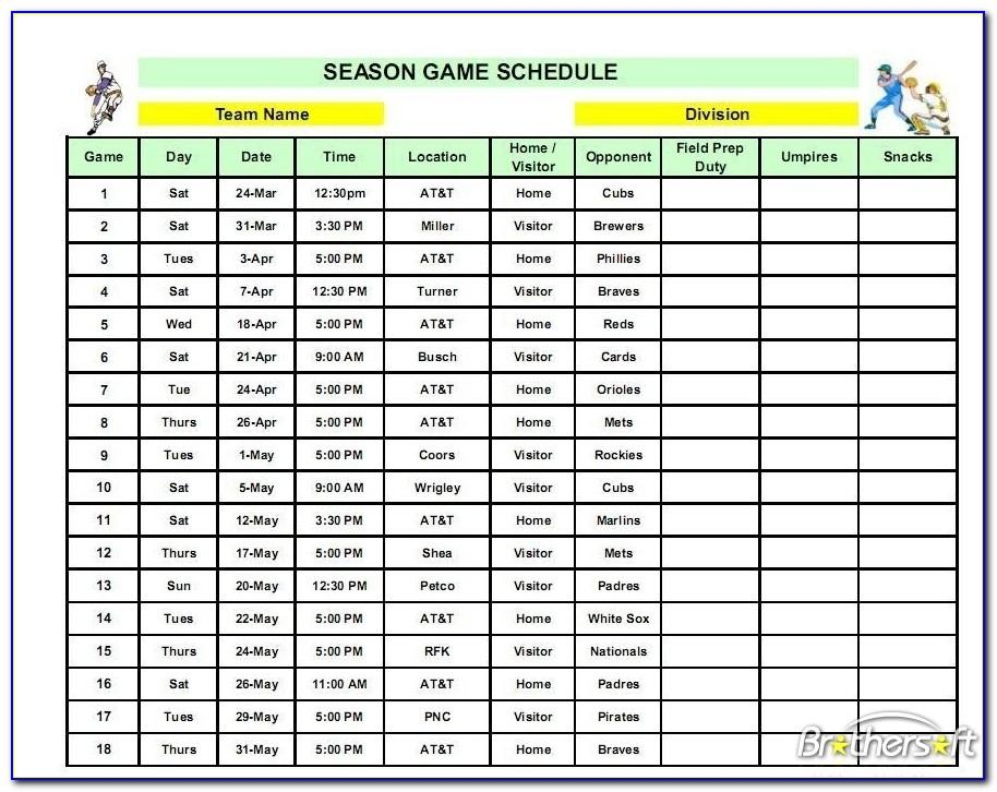 Little League Game Schedule Template