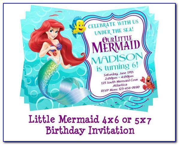 Little Mermaid Blank Invitation Template