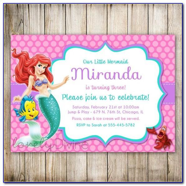 Little Mermaid Ticket Invitation Template