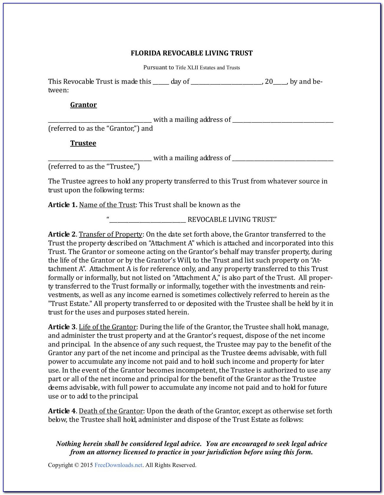Living Revocable Trust Form Colorado