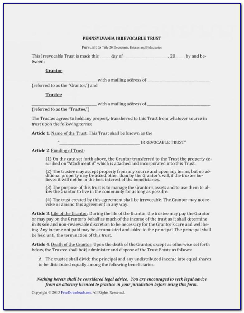 Living Revocable Trust Form Utah