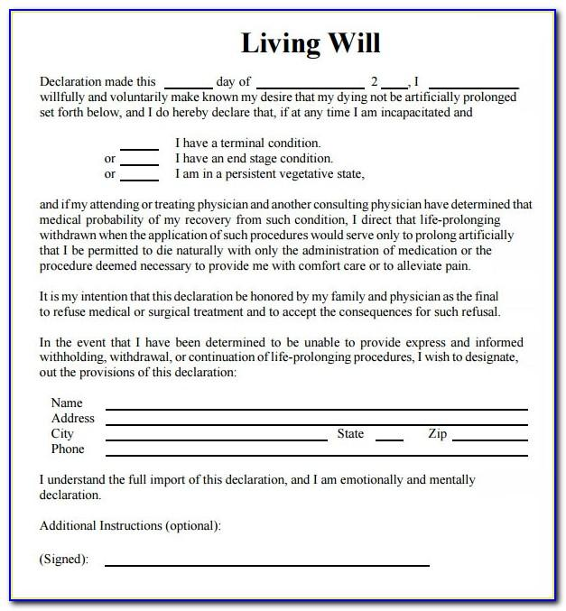 Living Will And Testament Template Free