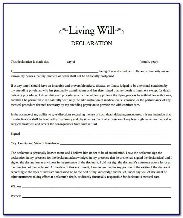 Living Will Form Florida Pdf