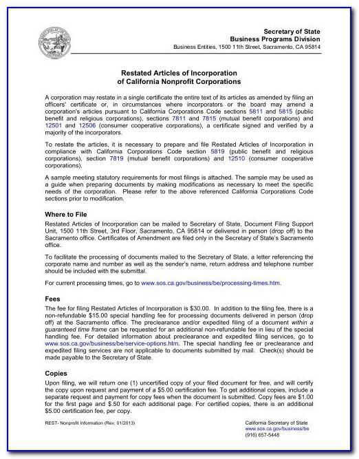 Llc Articles Of Organization Example