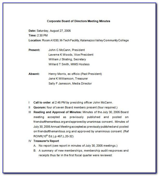 Llc First Meeting Minutes Template