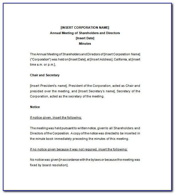 Llc Meeting Minutes Form
