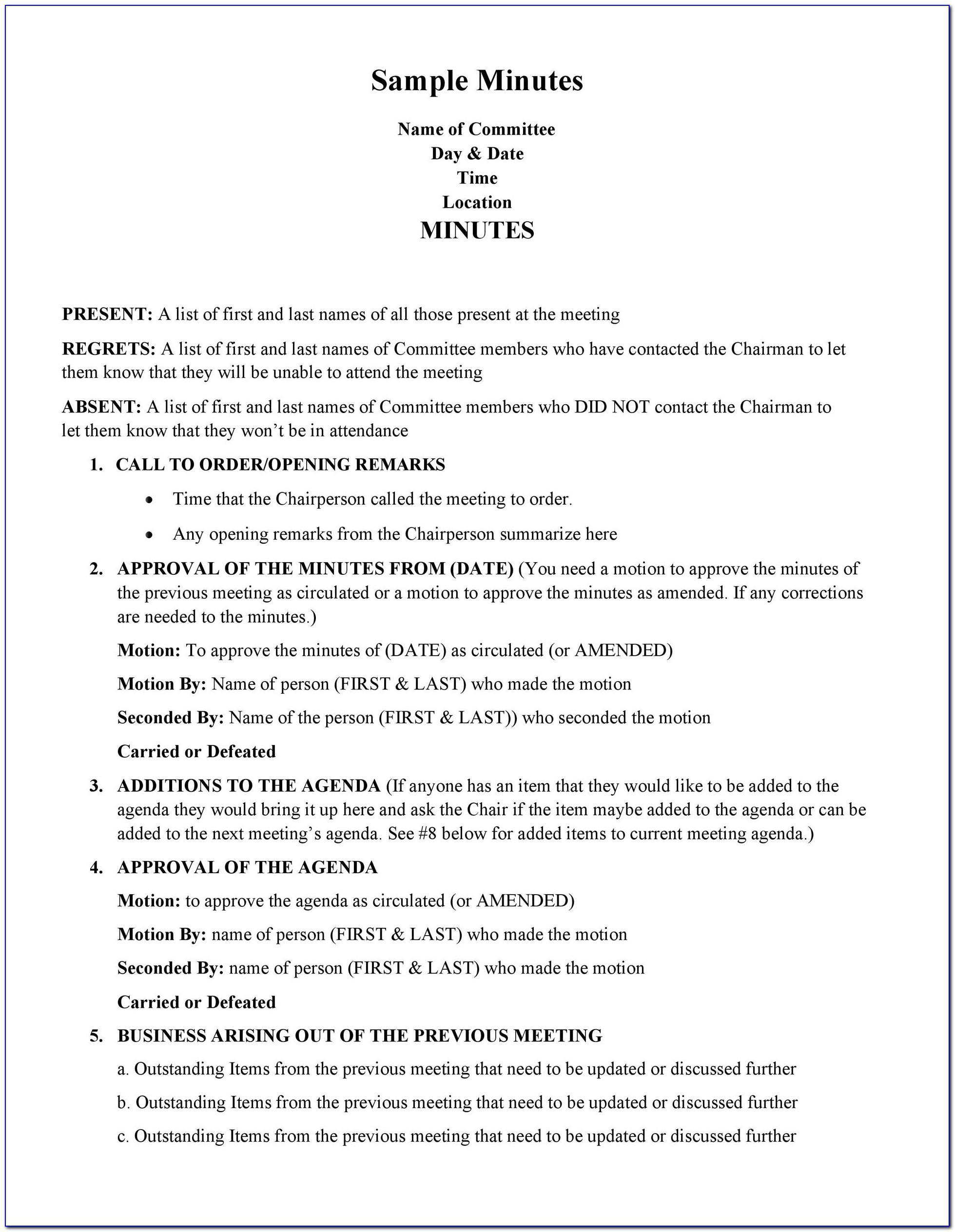 Llc Meeting Minutes Format