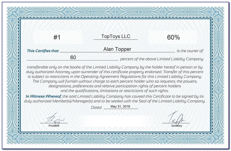 Llc Membership Certificate Template Pdf