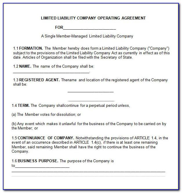 Llc Operating Agreement Form California