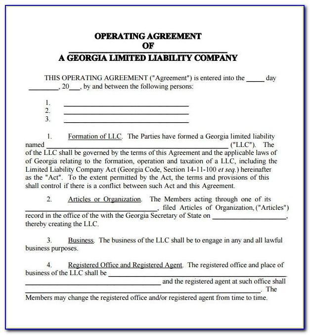 Llc Operating Agreement Form Download