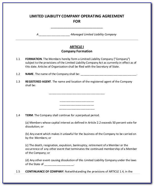 Llc Operating Agreement Template Maryland