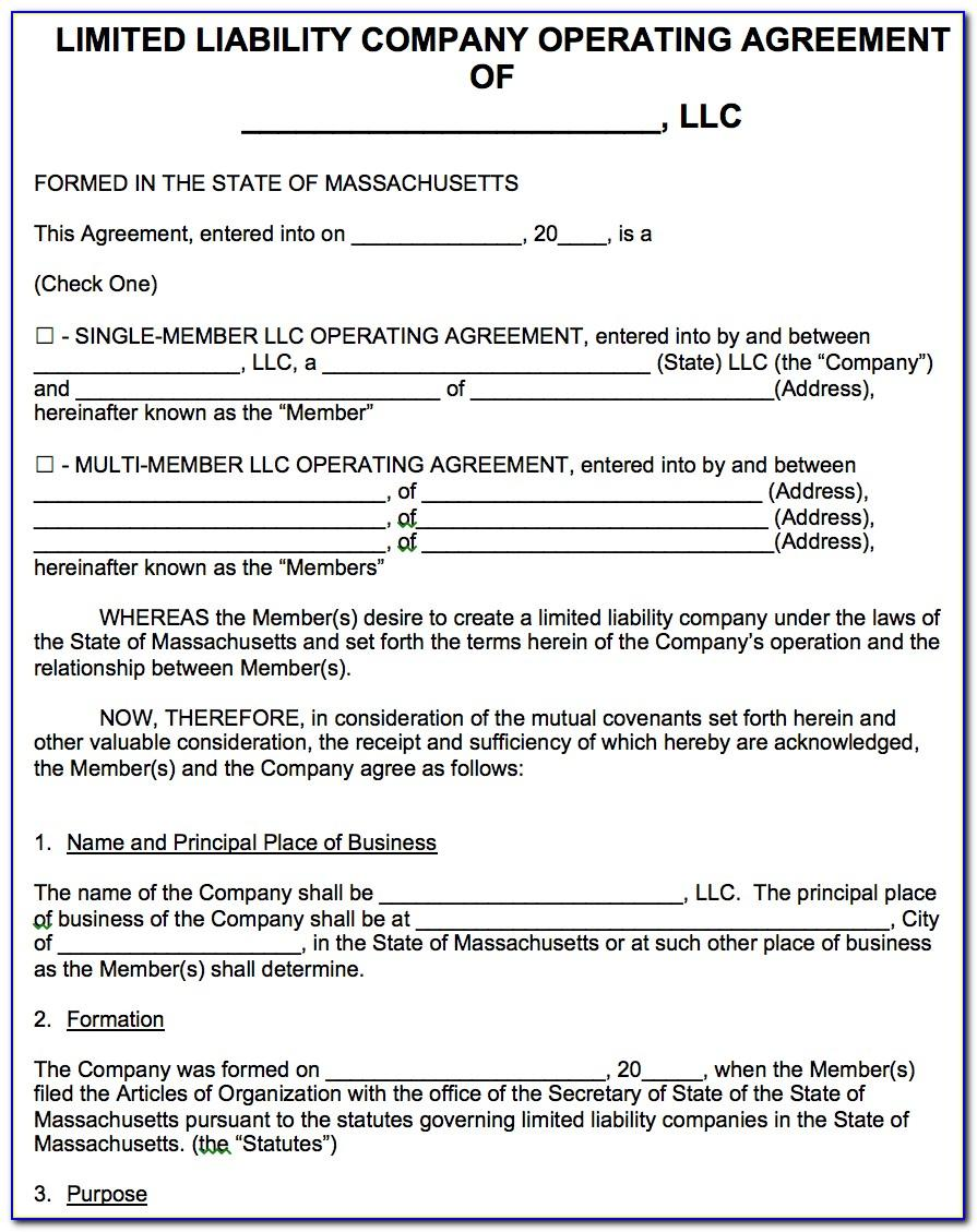 Llc Operating Agreement Template Microsoft Word