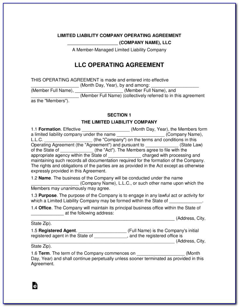 Llc Operating Agreement Template Pdf
