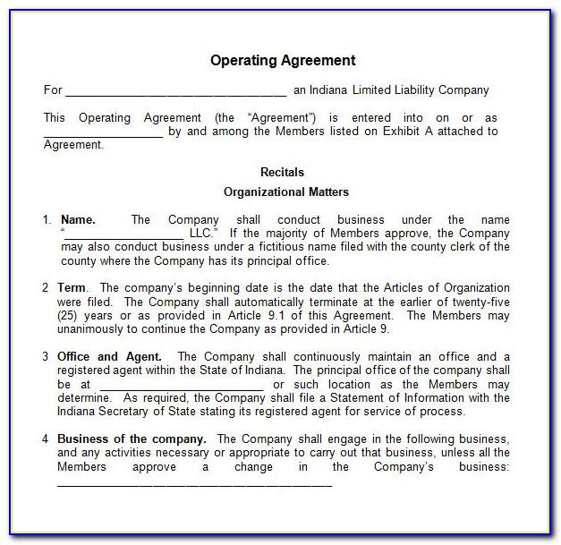 Llc Operating Agreement Template Tennessee