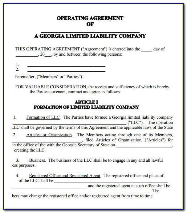 Llc Operating Agreement Template Texas