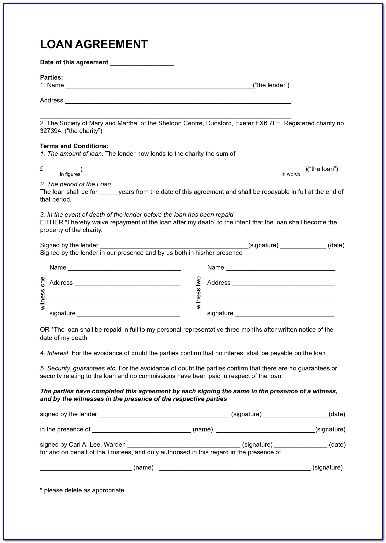 Loan Money Contract Template