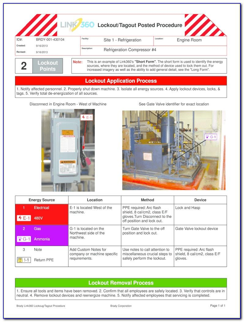 Lockout Tagout Log Sheet Template