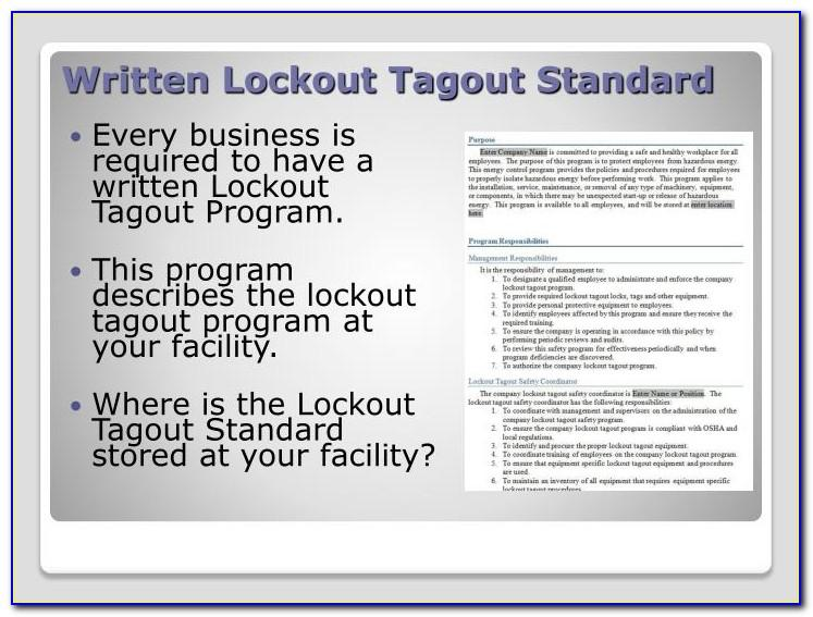 Lockout Tagout Written Program Template