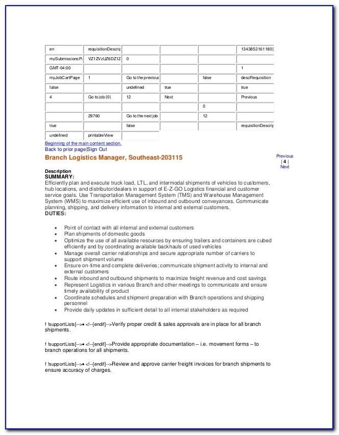 Logistics Coordinator Job Description Cv