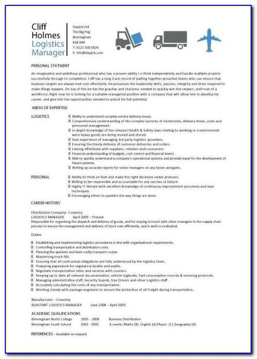 Logistics Coordinator Job Description Resume