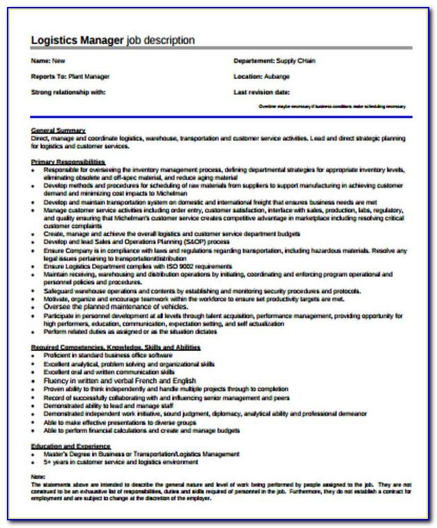 Logistics Coordinator Job Description Sample