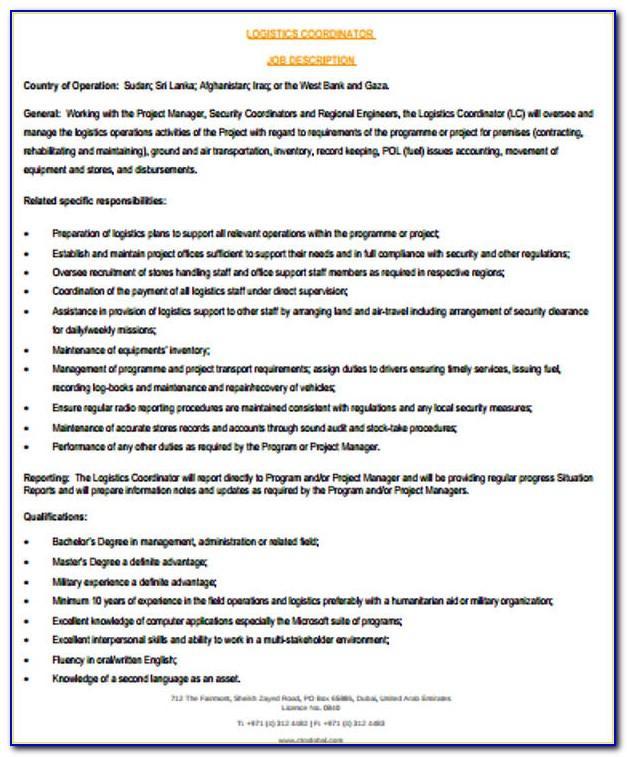 Logistics Coordinator Job Resume