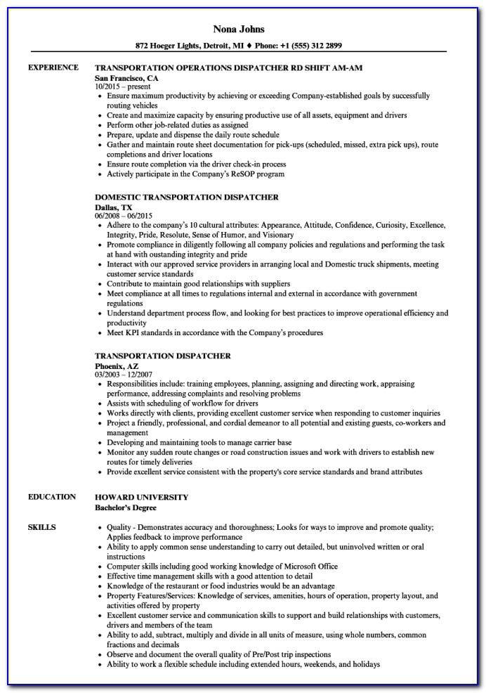 Logistics Dispatcher Job Description Resume