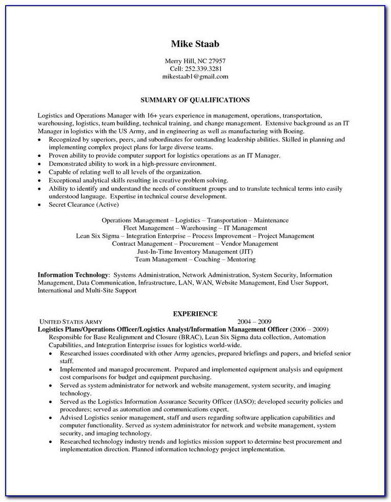Logistics Job Resume Sample