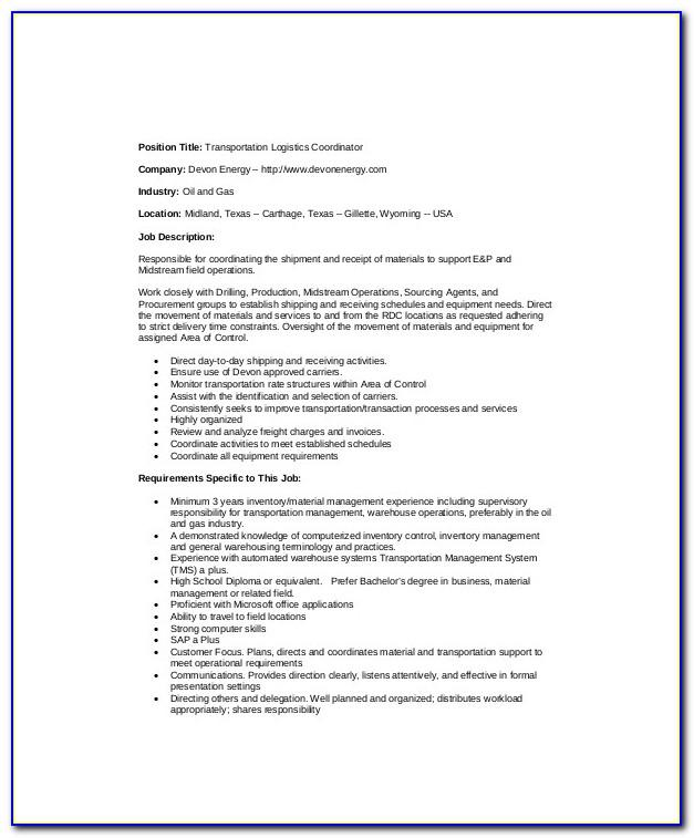 Logistics Manager Job Description Sample