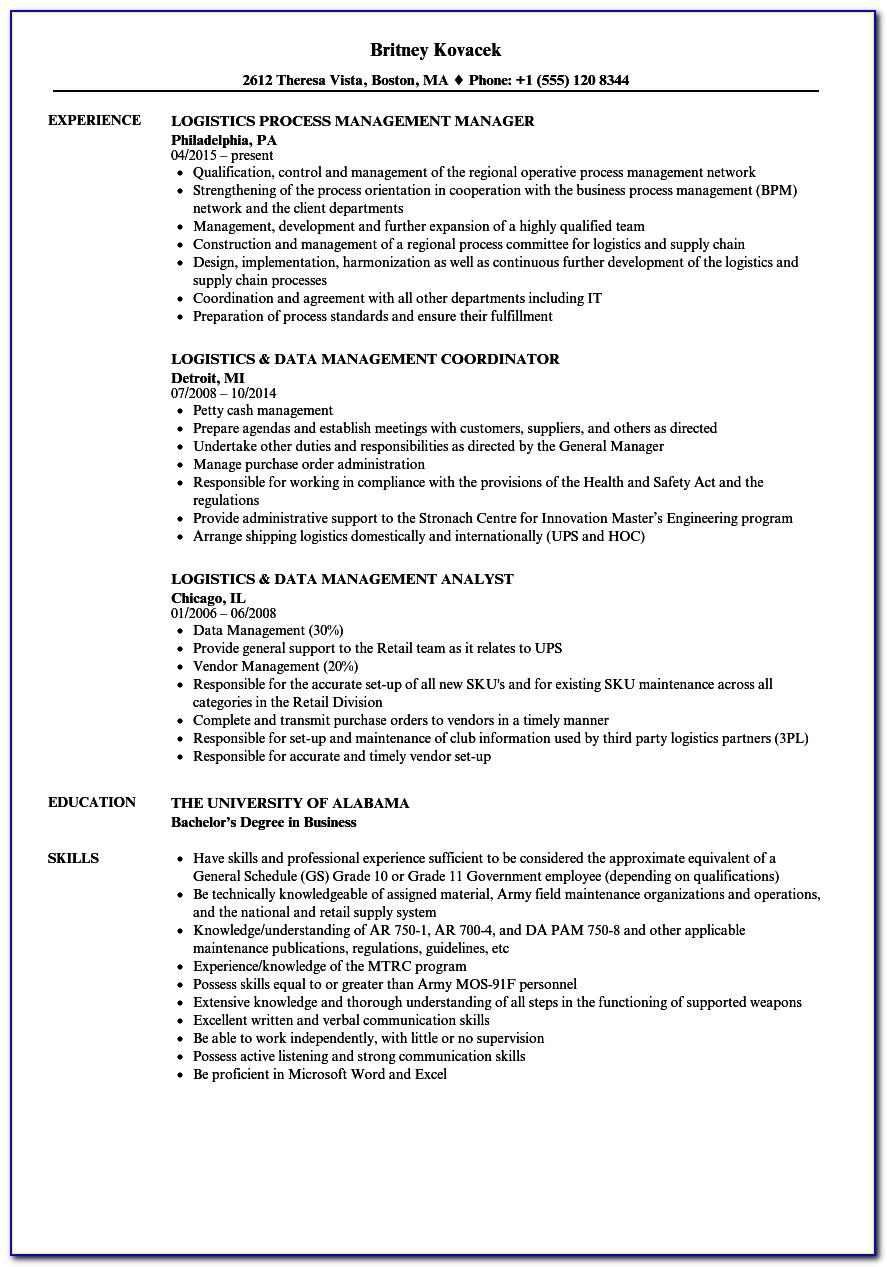 Logistics Manager Job Resume