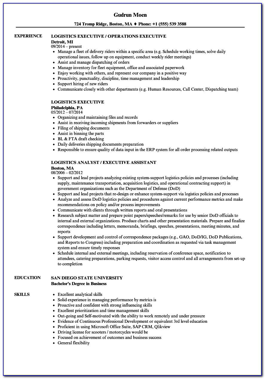 Logistics Manager Resume Word Format