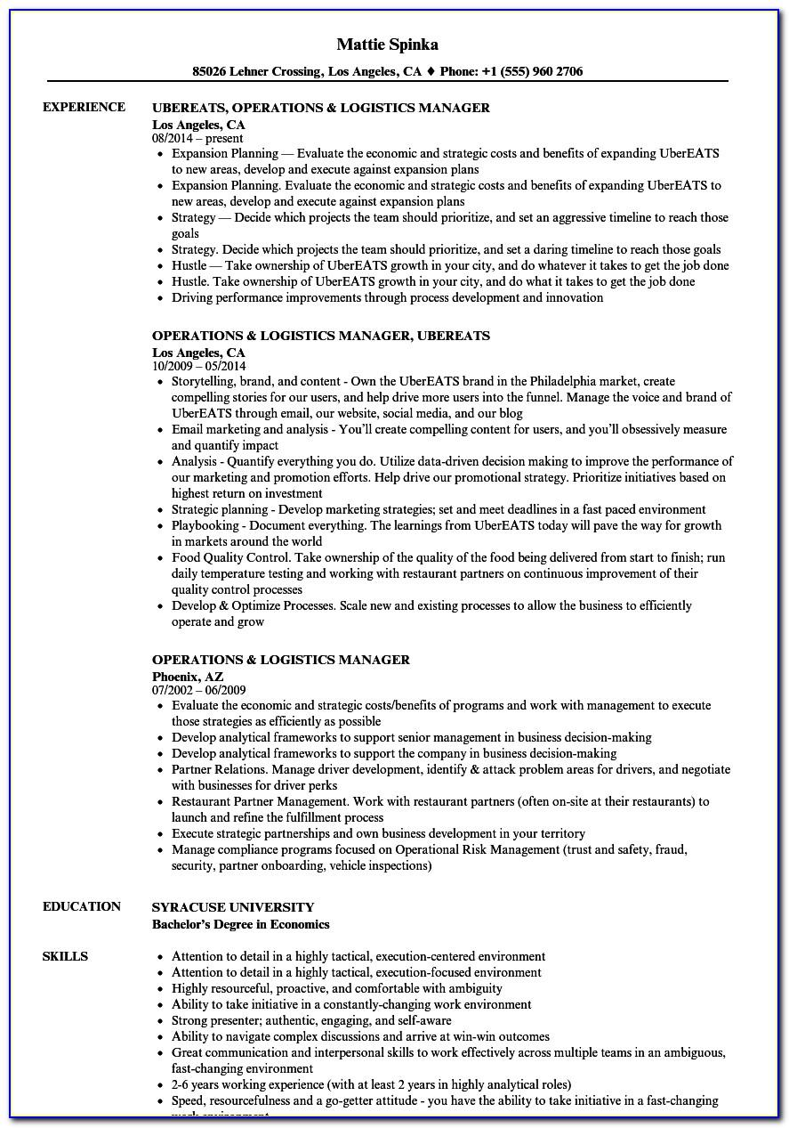 Logistics Operations Manager Job Description Resume