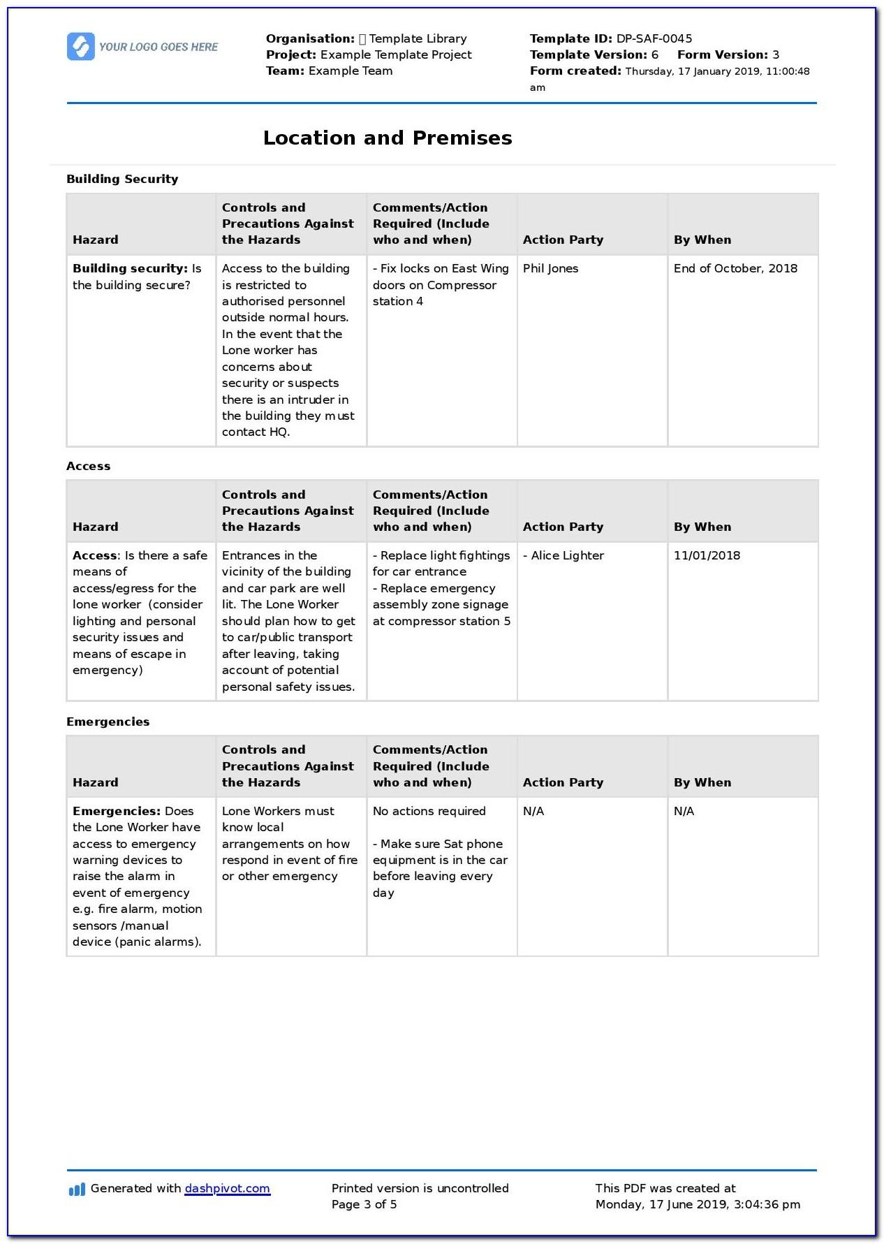 Lone Worker Risk Assessment Form