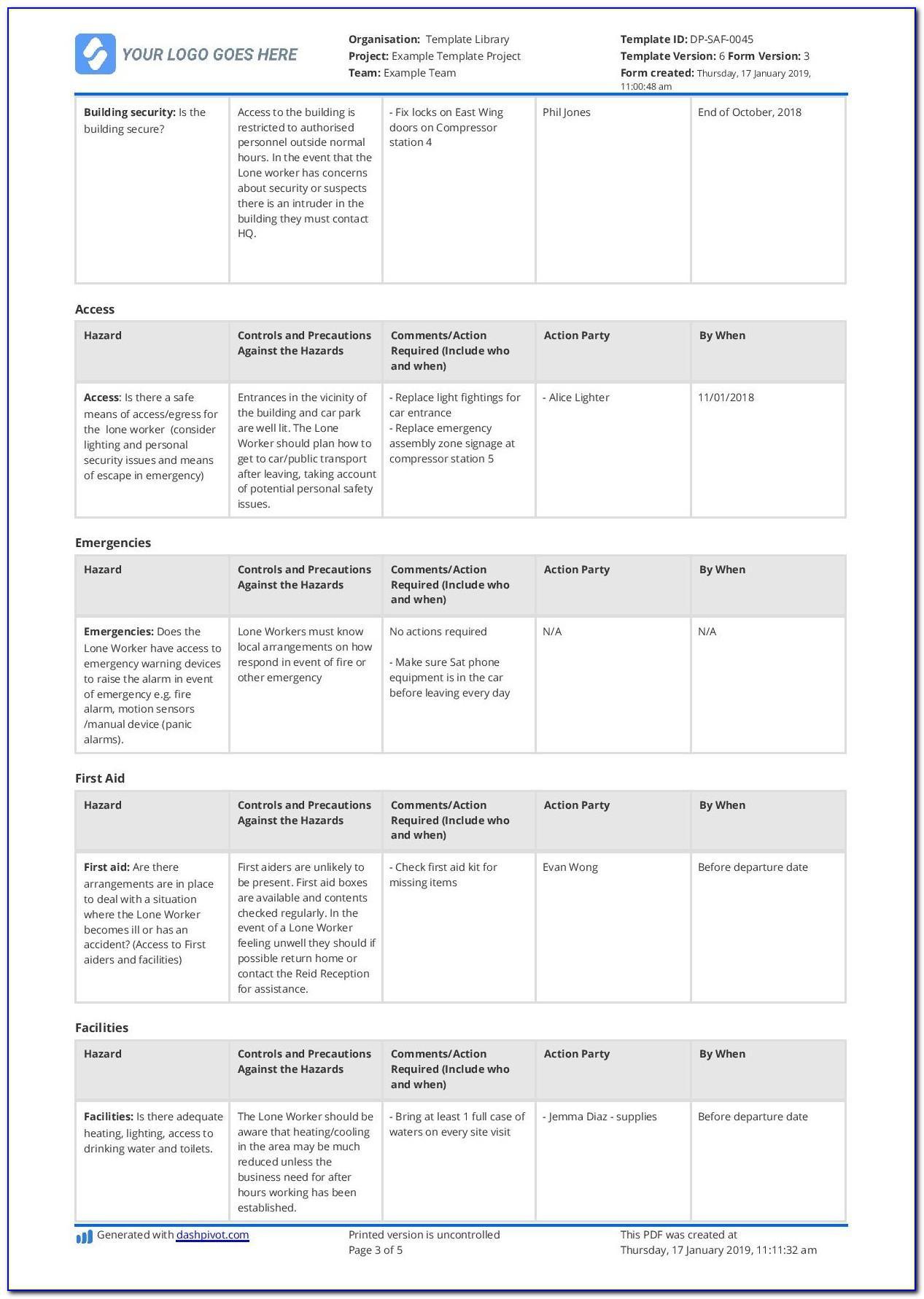 Lone Worker Risk Assessment Sample