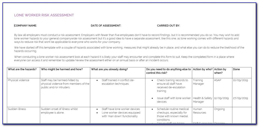 Lone Working Risk Assessment Doc