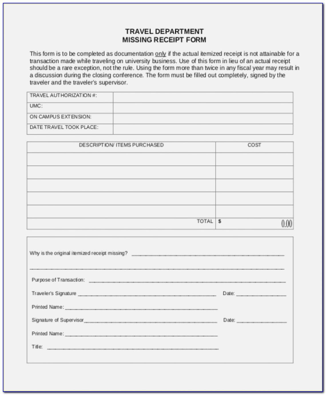 Lost Receipt Declaration Form Template