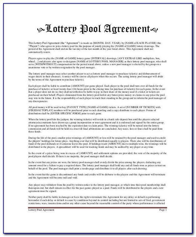 Lottery Pool Agreement Form Free
