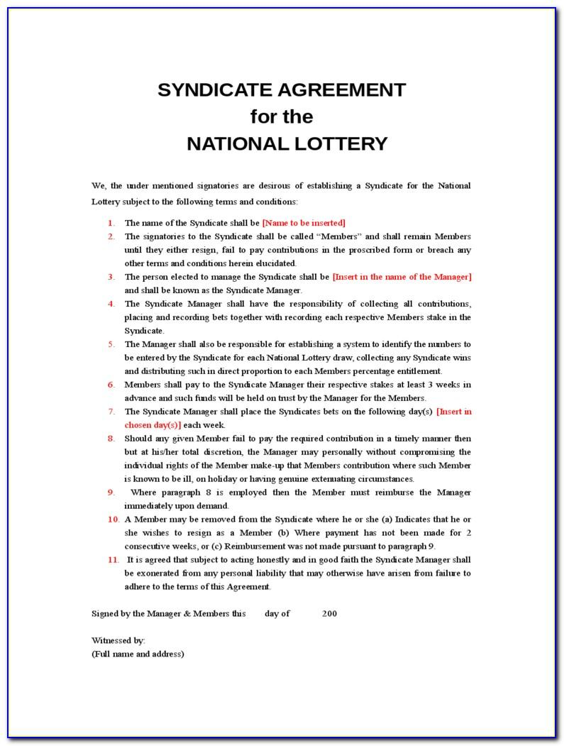 Lottery Pool Agreement Template Canada