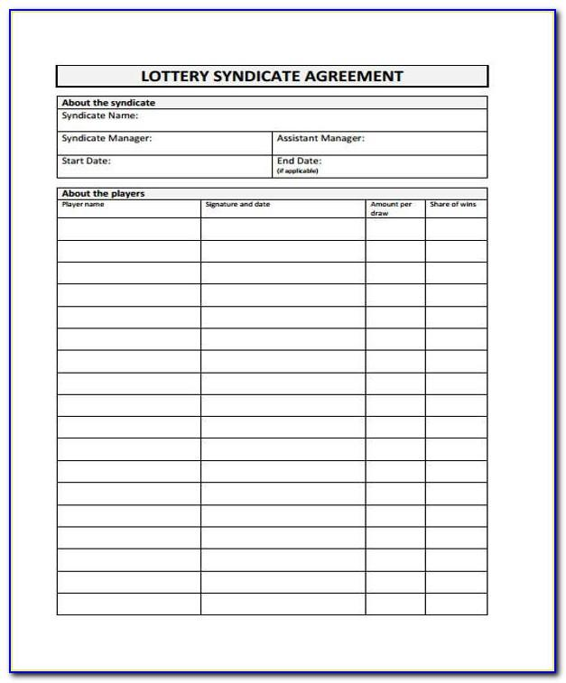 Lottery Syndicate Contract Form