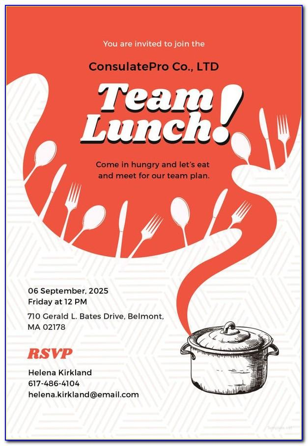 Lunch Invitation Card Template Free