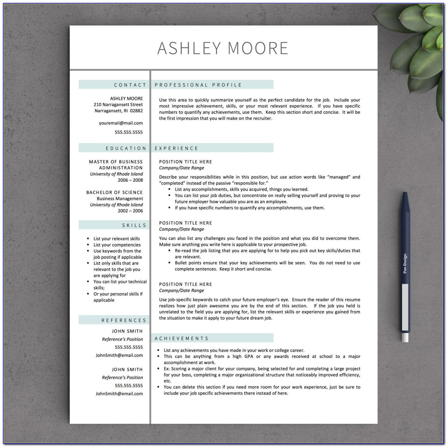 Mac Textedit Resume Template