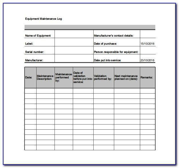 Machine Maintenance Checklist Form