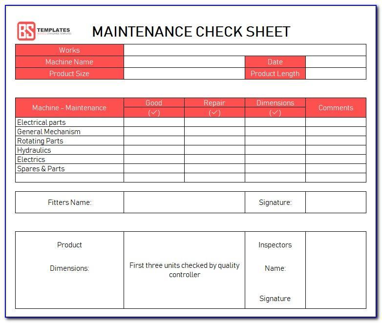 Machine Maintenance Checklist Format