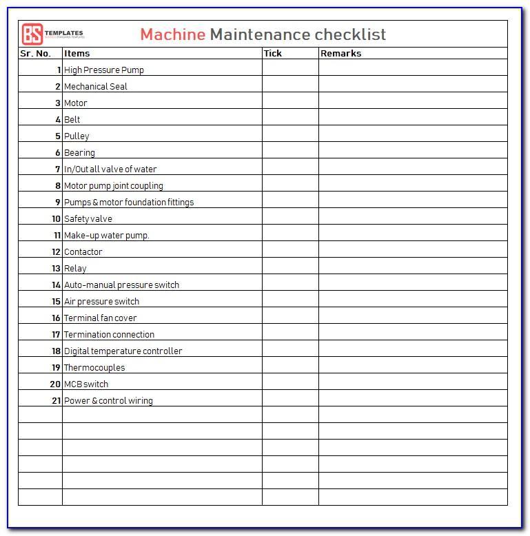 Machine Maintenance Checklist Template Excel
