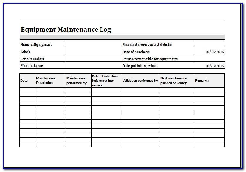 Machine Maintenance Checklist Template